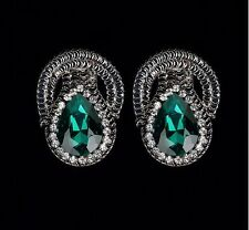 GUN TONE GREEN TEARDROP PATTERN RHINESTONE DROP EARRINGS