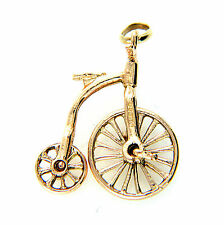UK Hallmarked Vintage 9ct Gold 3D Large Penny Farthing Bicycle Charm Wheel Turns
