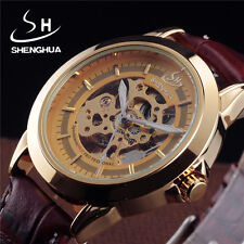 Class Golden Skeleton Mechanical Wrist Watch Men Fashion Genuine Leather Strap