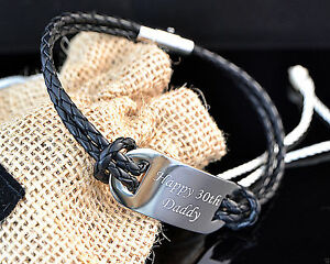 Leder Stahl Armband Mit Graviert Id Platte, Weihnachtsgeschenk