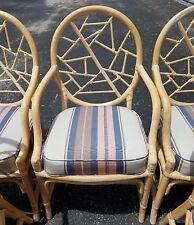 (6) McGuire Palm Beach Mid Century Modern Bamboo Rattan Crackle Back  Armchairs