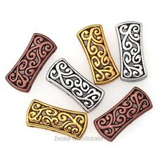 5Pcs/20Pcs Tibetan Silver Hollow Carved 3-Hole Spacer Beads Bar Charms
