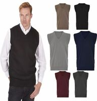 Mens Boys Plain Sleeveless V Neck Slipover Sweater Golf Knitted Jumper Tank Top