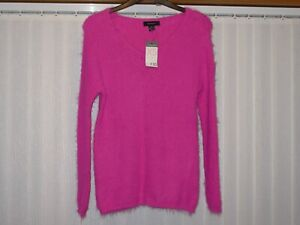 PRIMARK ATMOSPHERE CERISE FLUFFY RIBBED JUMPER SIZE EX.SMALL BNWT