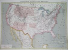 1872 UNUSUAL ORIGINAL MAP TEXAS CALIFORNIA FLORIDA NEW YORK UNITED STATES CUBA