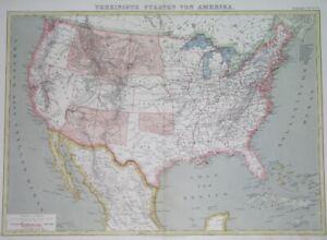 1872 UNUSUAL ORIGINAL MAP TEXAS CALIFORNIA FLORIDA NEW YORK UNITED STATES CUBA