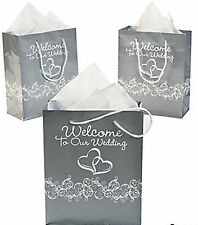 Wholesale lot 60 Silver White Glossy Two Hearts Welcome to Our Wedding Gift Bags