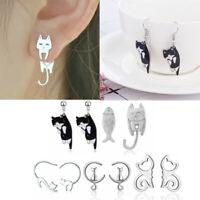 Fashion Crystal Pearl Cat Animal Stainless Steel Ear Stud Earrings Women Jewelry
