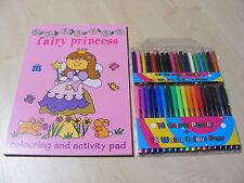 Girls Princesse Fée Coloriage & Cahier d'activités Bloc + 36 PC stylos de