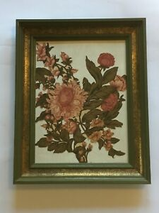 Vintage Floral Fabric Art Peonies in Green and Gold Frame