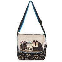 Wild Cats Laurel Burch Medium Canvas Tote Messenger  Bag