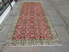Vintage Hand Made Traditional Oriental Wool Red Pink Large Rug Carpet 301x136cm