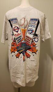 Vintage Phila Phillies & Toronto Blue Jays World Series 1993 Tshirt Gray New NOS