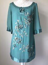 Ladies Green Silk Beaded Emroidered Lined Monsoon 3/4 Sleeve Smock Dress