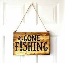Wall Hanging Gift Plaque Gone Fishing Handmade Reclaimed Recycled Pallet Sign
