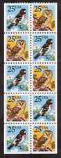 Scott # 2284/5...25  Cent...Owl/Bird...Booklet Pane of 10 Stamps