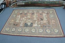 "Antique Thai Burma Embroidery Kalaga Sequin Tapestry Pictorial Myanmar 54"" x 82"""