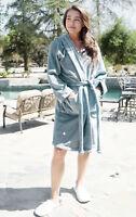 Women's Luxuriously Plush Cozy Collared Short Hoodie Bathrobe Spa Robe Sleepwear