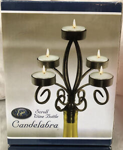 Wine Bottle Candelabra ~Wrought Iron Scrolled ~5 Tea light Candle Holder By Epic