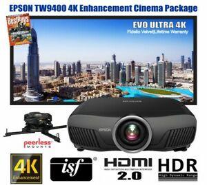 Epson TW9400 4K HDR Cinema Projector & Majestic 2.37:1 Cinemascope 4K Screen