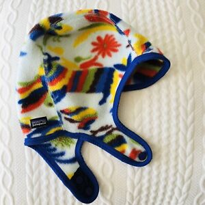Patagonia Baby Synchilla Fleece Print Winter Trappers Hat 18 months