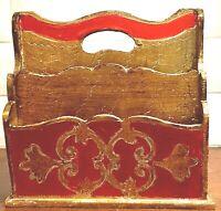 Vintage Letter Holder Italian Florentine - Raspberry Red & Gold  - 2 Sided