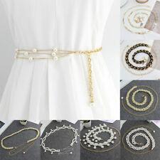 Women Pearl Beaded Dress Metal Belts Silver Gold Waist Chain Waistband Fashion
