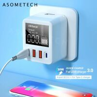 DIGITAL DISPLAY 30/40W FAST CHARGE QC3.0/USB/Type C 4 In 1 Charger Wall Adapter