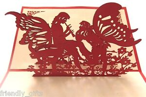 15cm x 10cm 3D Pop Up Red Angel Red Cover Engagement Wedding Cards