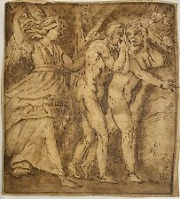 OLD MASTER DRAWING,INK ON HANDMADE PAPER LAID,ITALIAN SCHOOL, BLACK STAMP