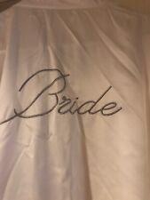 Bride Robe Satin White Bling BRIDE on Back Size L Bras N Things