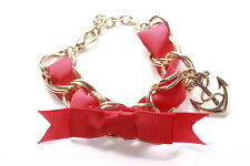 Magnificent Twisted Lipstick Red Ribbon, Anchor Charm Gold Chain Bracelet(Ns17)