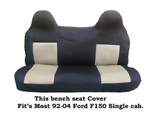 Black/Beige Mesh Fabric Bench seat cover Fit's Ford F150 Truck's 92-04