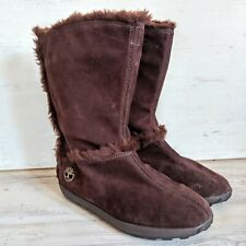 Timberland Suede Fur Lined Boots Womens Size 7.5M Brown