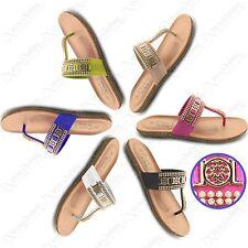 LADIES DIAMANTE GOLD T BAR SANDALS WOMEN FLIP FLOP TOE POST THONG SHOES FLAT 3-8