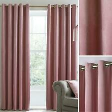 Blush Eyelet Curtains Pink Blackout Velvet Heavy Ready Made Ring Curtain Pairs