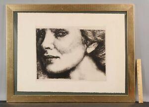 1975 Large Vintage HERBERT LEWIS FINK Portrait Woman Etching Print, ODE TO P.A.N