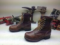DISTRESSED LACE UP USA VINTAGE BROWN LEATHER TRAIL BOSS LOGGER BOOTS 7.5 EEE