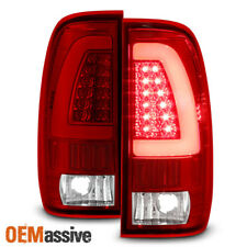 Fit 1997-2003 Ford F150 1999-2007 F250 F350 Red Clear LED Tube Tail Lights Lamps