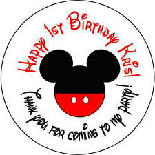 24 stickers 1.67 Inch Personalized round birthday party mickey mouse boys shower