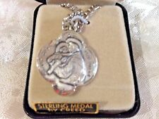 """CREED NEW ST ANTHONY STERLING SILVER Medal, 24""""Stainless Silver Ch Gift Box SS41"""