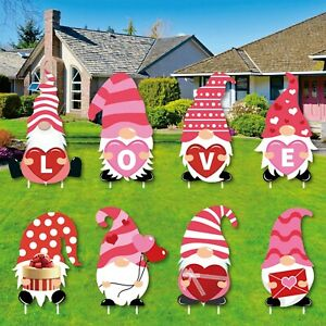 Valentine's Day Decorations Outdoor Garden Lawn Yard Sign with Stakes 8 Pcs