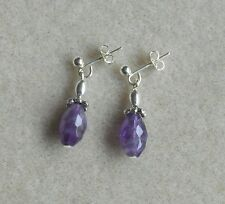 Faceted Amethyst silver plated  stud earrings E311b (can change studs to hooks)