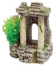 Ancient Column Ruin Aquarium Ornament with Artificial Plant Fish Tank Decoration