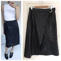 Vegan Leather Midi Wrap Skirt By English Fashion Brand French Connection Sz S