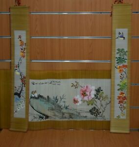 "Bamboo Scroll Painting ""Flowers & Birds"" Made Peoples Republic of China Original"