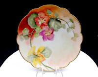 "LIMOGES FRANCE HANDPAINTED FLORAL ON PASTELS 8 1/2"" SCALLOPED CABINET PLATE"
