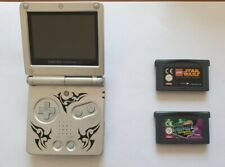 Nintendo Game Boy Advance SP Tribal Limited Edition Silber AGS-101 + zwei Spiele