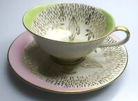 Bavaria 20Made In Germany Green Pink  And Gold Tea Cup And Saucer