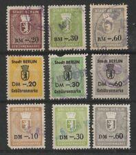 Verschiedene Gebührenmarken aus Berlin